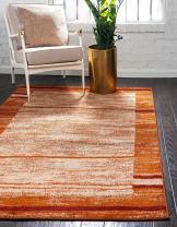 Unique Loom Autumn Collection Border Casual Rustic Warm Toned Terracotta Area Rug (9' 0 x 12' 0)