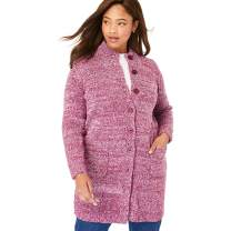 Woman Within Women's Plus Size Marled Sweater Jacket