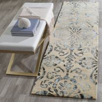 """Safavieh Dip Dye Collection DDY719M Handmade Geometric Medallion Watercolor Camel and Grey Wool Runner (2'3"""" x 6')"""