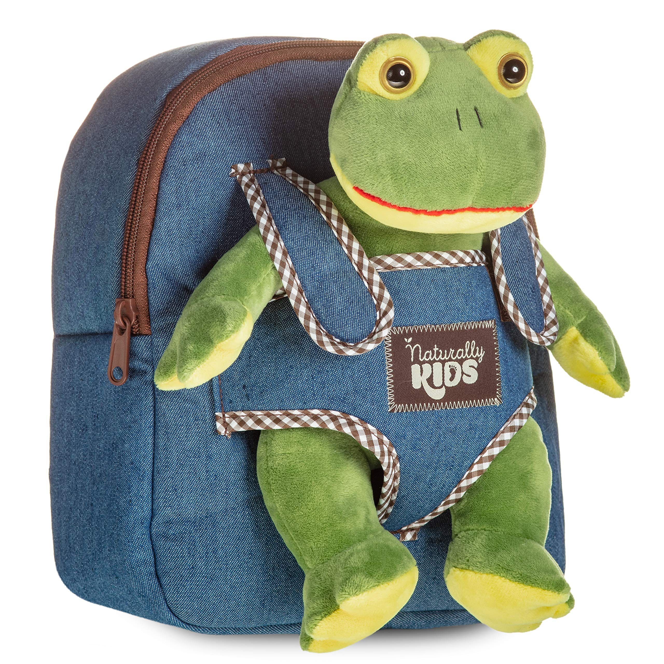 Denim Backpack with Frog for Boys & Girls - Small Backpacks with Plush Toy for Girl & Boy w. Huggable Soft Plush Frog - Lovely Gift for Toddler 3 4 5-10 Year Old Child Adjustable Straps Fit Any Age