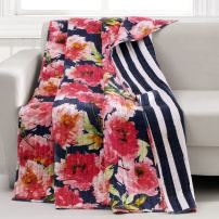 Barefoot Bungalow Peony Posy Quilted Throw, Blue Marine