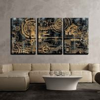 "wall26 - 3 Piece Canvas Wall Art - a Technically Electronic Background with Device Objects - Modern Home Decor Stretched and Framed Ready to Hang - 16""x24""x3 Panels"