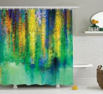 "Ambesonne Watercolor Flower Shower Curtain, Abstract Style Spring Floral Watercolor Style Painting Image Nature Art, Cloth Fabric Bathroom Decor Set with Hooks, 70"" Long, Teal Yellow"