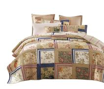 Tache Home Fashion Emperor Country Cottage Floral Patchwork Reversible Quilt Bedspread Set, Queen, Japanese Garden