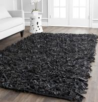 Safavieh Leather Shag Collection LSG511A Hand Woven Black Leather Area Rug (5' x 8')