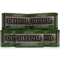 Defense Soap, Peppermint, 4 Ounce Bar (Pack of 5) - 100 Percent Natural Pharmaceutical Grade Tea Tree Oil and Eucalyptus Oil