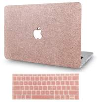"""KECC Laptop Case for MacBook Air 13"""" w/Keyboard Cover Plastic Hard Shell Case A1466/A1369 2 in 1 Bundle (Rose Gold Sparkling)"""