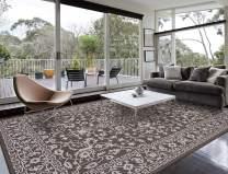 """HOMEGNOME Indoor Outdoor Neo-Oriental Rug (6'7""""x9'6"""", Brown)"""