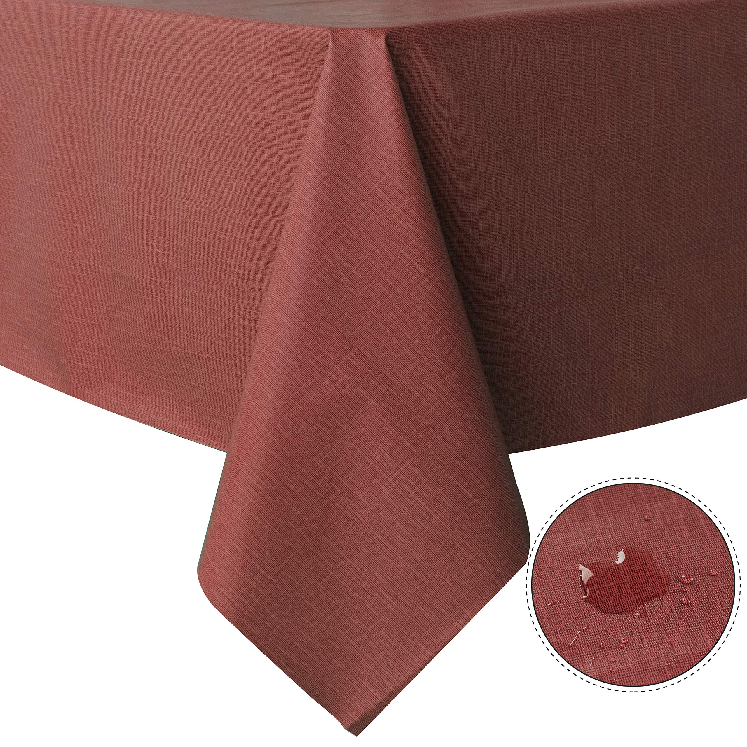 Waterproof PVC Table Cloth Oil-Proof Spill-Proof Vinyl Rectangle Tablecloth