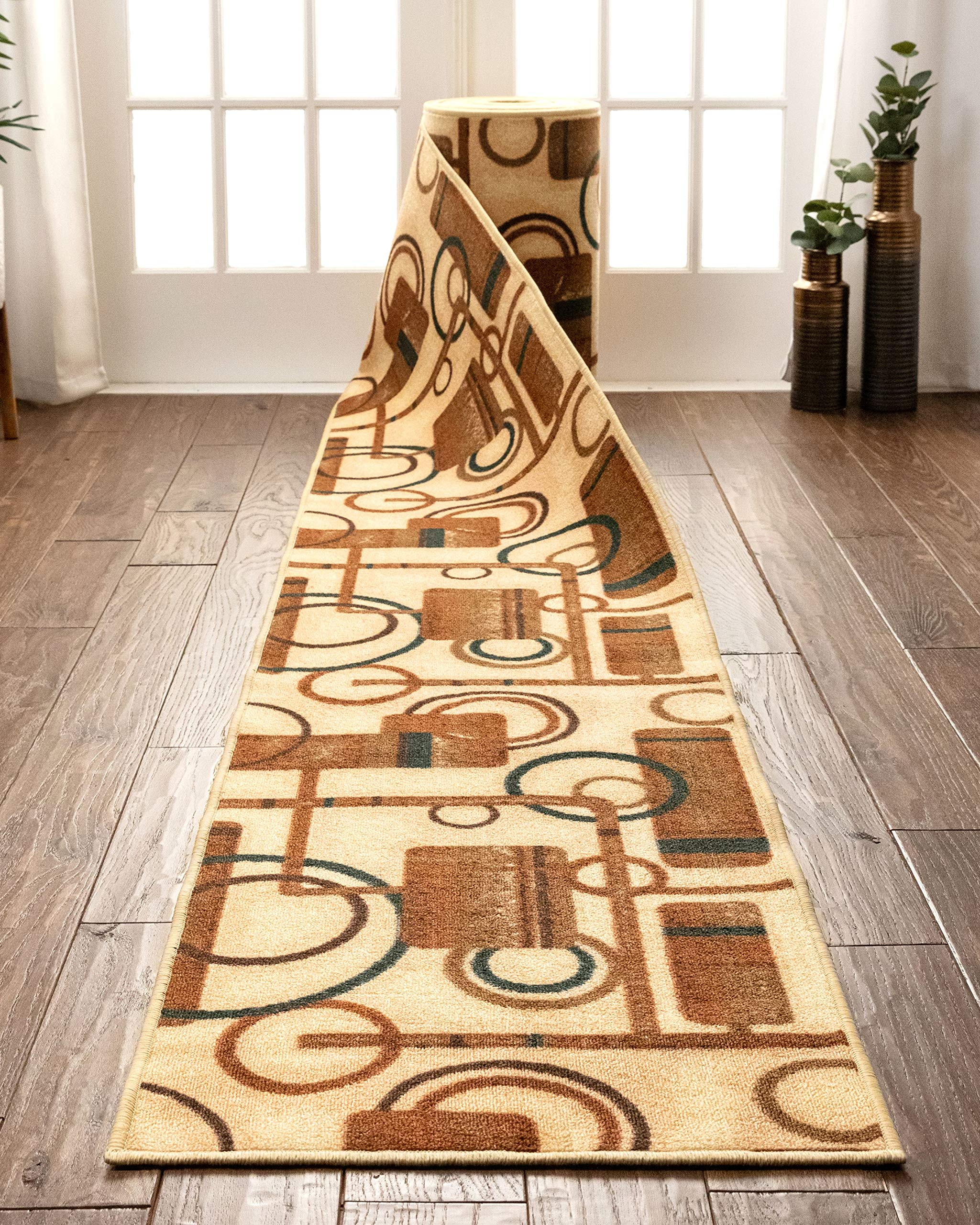 """Well Woven Custom Size 22"""" Wide by Select Your Runner Length Non-Slip Rubber Backed Machine Washable Hall Rug Soho Circles Beige Geometric Indoor Outdoor Kitchen Entry Thin Low Pile 22"""" x6' Runner"""