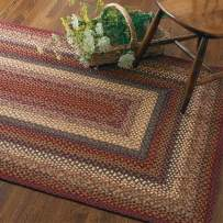 """Rectangle Braided Rug 27"""" x 45"""" Homespice Neverland Red, Green, Mustard Made from Cotton, Durable Eco Friendly Natural Fiber, Easy to Clean, Reversible, Handmade"""