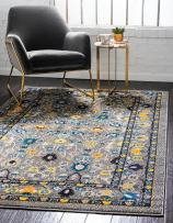 Unique Loom Medici Collection Floral Traditional Vibrant Colors Gray Area Rug (9' 0 x 12' 0)