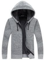 Yeokou Men's Thick Fleece Lined Full Zip Up Hoodie Cardigan Sweaters with Pockets