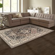 Superior Elegant Glendale Collection Area Rug, 8mm Pile Height with Jute Backing, Traditional Oriental Rug Design, Anti-Static, Water-Repellent Rugs - Brown, 2' x 3' Rug