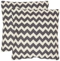 Safavieh Pillows Collection Striped Taelea Decorative Pillow, 22-Inch, Charcoal, Set of 2