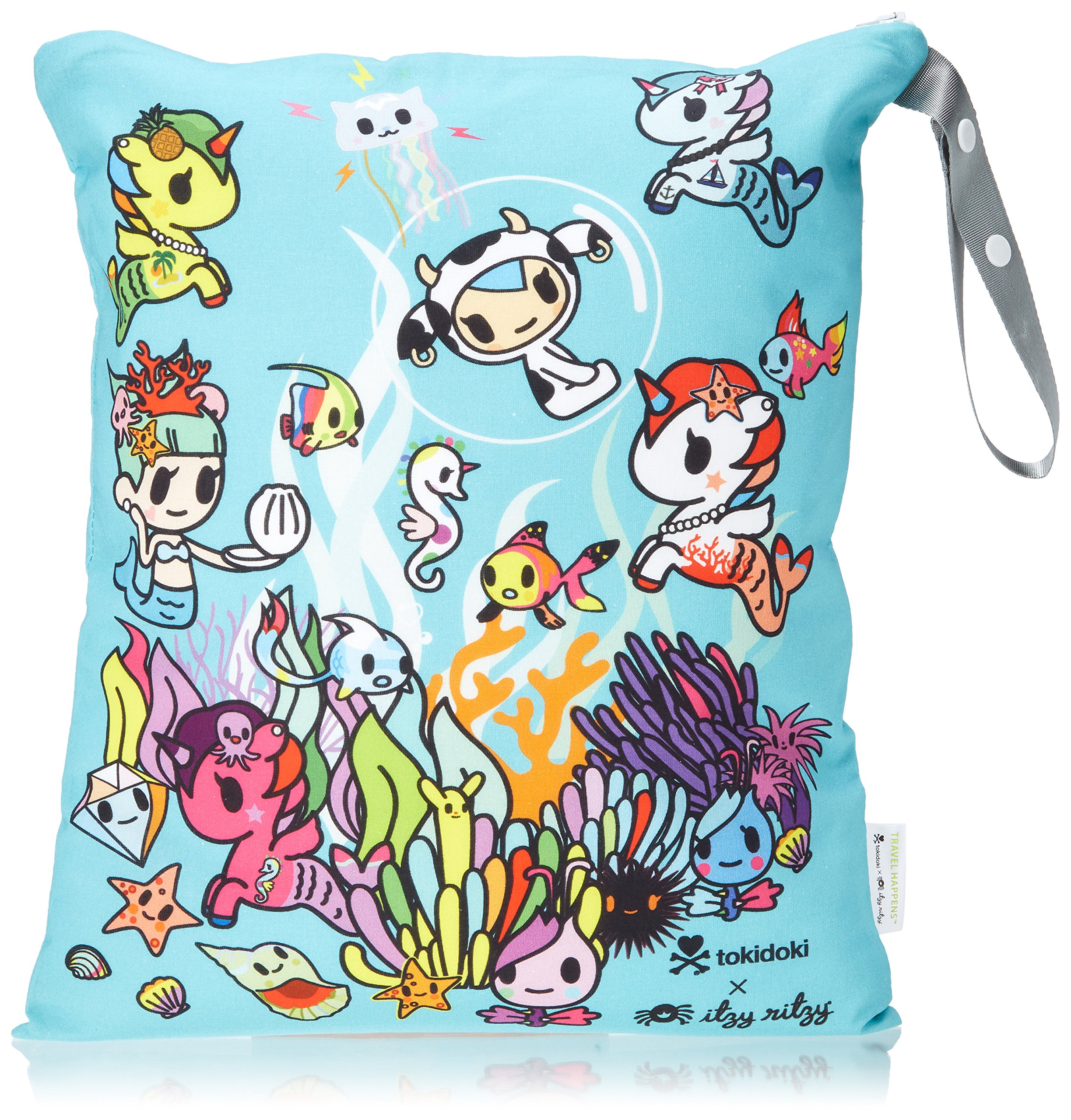 """Itzy Ritzy Wet Bag with Adjustable Handle – Washable & Reusable Wet Bag with Water Resistant Lining Ideal for Swimwear, Diapers, Gym Clothes & Toiletries; Measures 14"""" x 17"""", Underwater Adventure"""