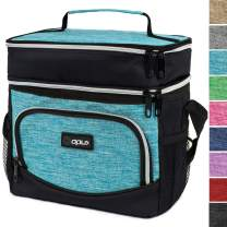 OPUX Premium Insulated Dual Compartment Lunch Bag for Men Women | Double Deck Leakproof Liner Lunch Tote | Soft Reusable Lunch Box for Work Office School | Medium Lunch Pail, Fits 8 Cans (Turquoise)