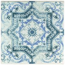 "SomerTile FGAKAL1 Carriere Quarry Floor & Wall Tile, 12.75"" x 12.75"", Alcazar Petunia,,, Blue, White"
