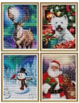 Ginfonr 4 Pack 5D Diamond Painting Full Drill Christmas Santa Snowaman Reindeer Dog, Aurora Xmas Rhinestone Embroidery Craft Paint with Diamonds Arts DIY Wall Decor 30x40 cm (12x16 inch)