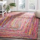 Safavieh Cape Cod Collection CAP202A Hand-woven Jute & Cotton Area Rug, 8' x 10', Red/Multi