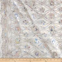 Ben Textiles Coco Star Sequin Double Border Lace, Yard, Silver