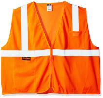 Radians SV2ZOM4X Polyester Mesh Economy Class 2 High Visibility Vest with Zipper Closure, 4X-Large, Orange