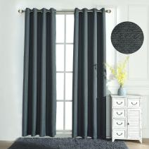 Teeter-Totter Linen Look Thermal Insulated Blackout Curtains - Energy Efficient Living Room and Bedroom Curtains, Grommet Curtain Panel Set of 1 (54 x 95 inches, Grey-Linen Look)