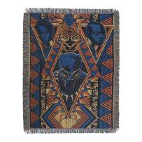 """Marvel Black Panther, """"King Panther"""" Woven Tapestry Throw Blanket, 48"""" x 60"""", Multi Color"""