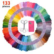 Premium 133 Piece Embroidery Thread and Sewing Kit - Friendship Bracelet String Kit – Embroidery Needles, Threader, DMC Color Card and Deluxe Silver String Included – Cross Stitch, Great Gift Idea