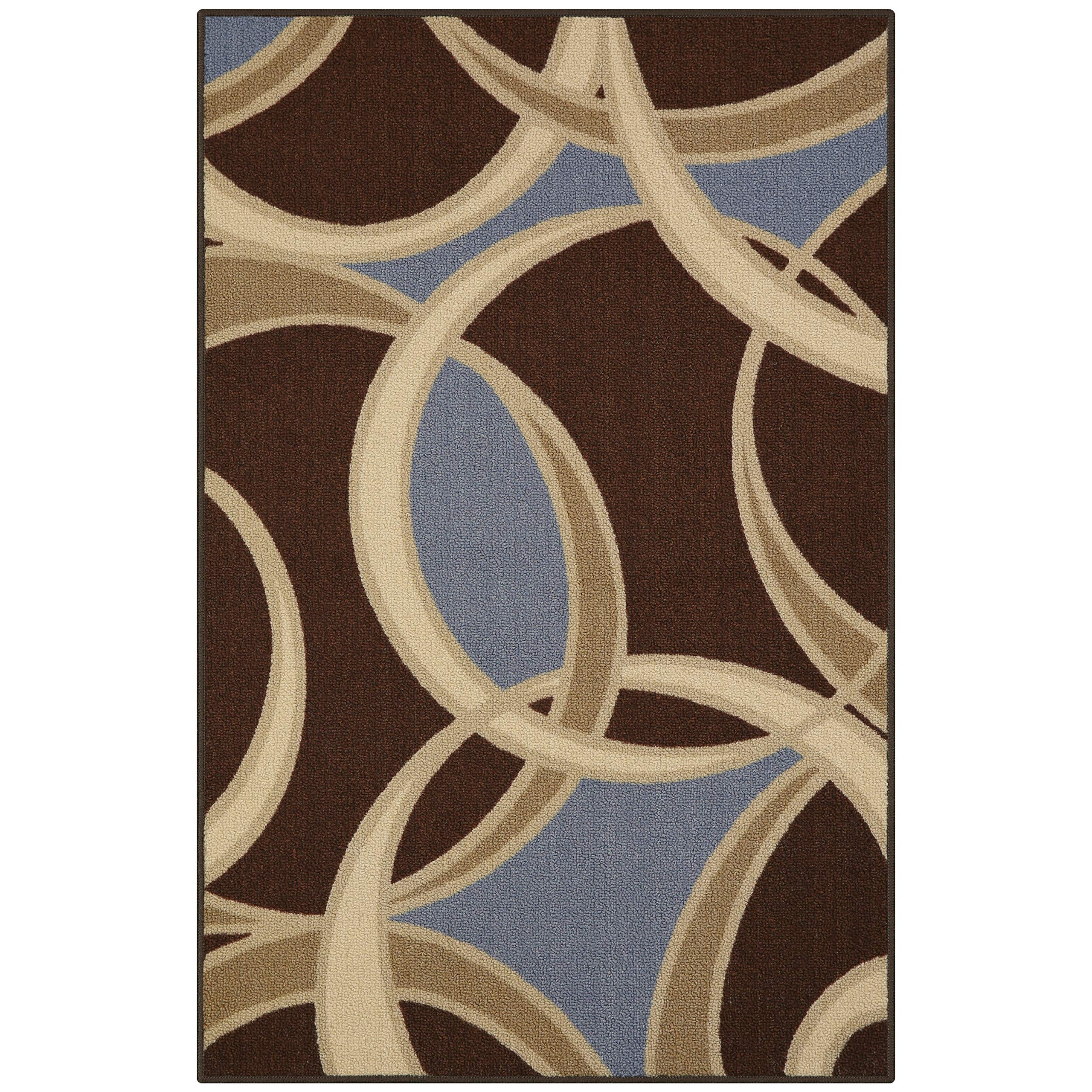 Maples Rugs 2'6 x 3'10 Non Skid Hallway Entry Rugs Kitchens [Made in USA] for Kitchen and Entryway, Coffee Brown/Blue
