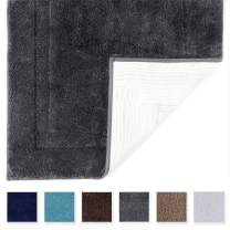 TOMORO Microfibers Non-Slip Bathroom Rug – Quick Dry, Super Absorbent and Soft Luxury Hotel Door Carpet Shower Shaggy Bath Mat Waterproof TPR Non-Skid Backing 20 x 32 inch Grey