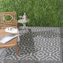 Safavieh Courtyard Collection CY6926-246 Anthracite and Beige Indoor/ Outdoor Area Rug (9' x 12')