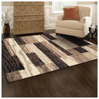 SUPERIOR Modern Rockwood Collection Area Rug, 8mm Pile Height with Jute Backing, Textured Geometric Brick Design, Anti-Static, Water-Repellent Rugs - Chocolate, 4' x 6' Rug