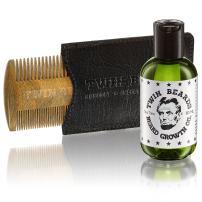 Twin Beards Beard Growth Set for Men   100% Sandalwood Beard Comb & PU Leather Slipcase   Tea Tree, Castor & Argan Oil   Accelerate Beard Growth 3 oz