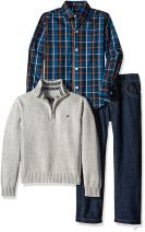 Nautica Baby Boys' 3-Piece Sweater, Pants, and Button-Down Shirt Set