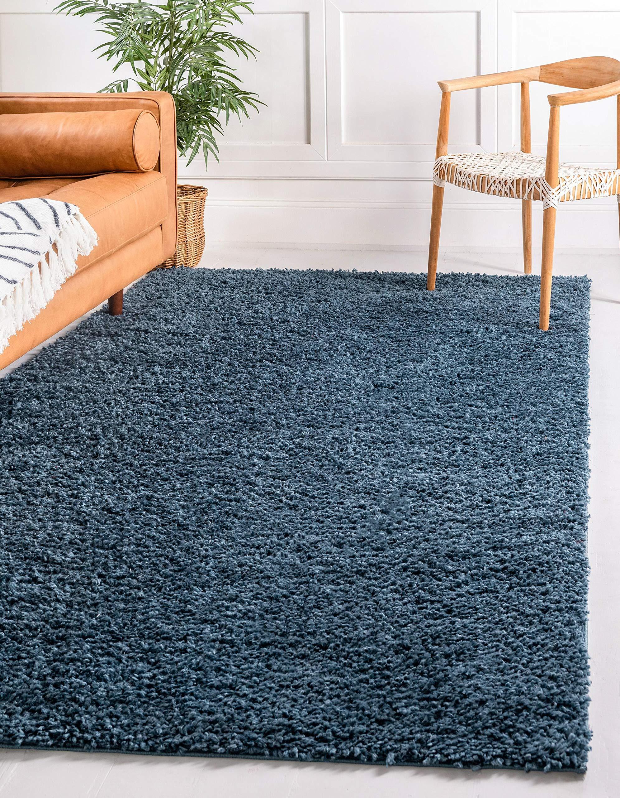 Unique Loom Davos Shag Collection Contemporary Soft Cozy Solid Shag Marine Blue Area Rug (9' 0 x 12' 0)