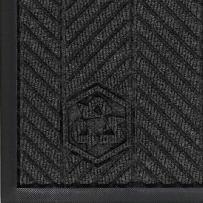"M+A Matting 2240 Waterhog Eco Elite PET Polyester Fiber Indoor/Outdoor Floor Mat, SBR Rubber Backing, 8.4' Length x 4' Width, 3/8"" Thick, Black Smoke"