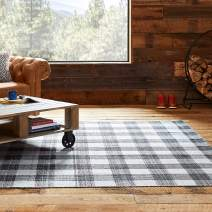 Amazon Brand – Stone & Beam Casual Plaid Area Rug, 5 x 8 Foot, Flatweave, Black, Grey, White