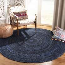 Safavieh Braided Collection BRD452N Hand-Woven Area Rug, 5' x 5' Round, Navy/Black