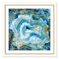 """Casa Fine Arts Touch Agate II Blue Colorful Geode Wall Art Archival Print, 31"""" x 31"""", White and Gold Frame"""