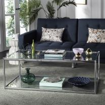 Safavieh Home Collection Zola Chrome and Glass Rectangle Coffee Table