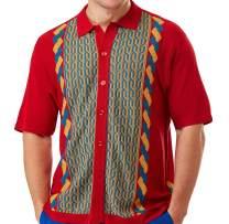 Edition S Men's Short Sleeve Knit Shirt - California Rockabilly Style: Multi Chain Links Design- 3012 (4XL, RED)