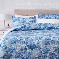 Amazonbasics 300TC 100% Cotton Comforter Set, Reversible 3-piece, Super Soft - Full/Queen, Multi Blue Watercolor Floral