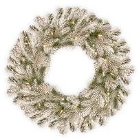 """National Tree 30 Inch """"Feel Real"""" Snowy Sheffield Spruce Wreath with 100 Battery Operated Warm White LED Lights with Timer (PESL3-300-30W-B)"""
