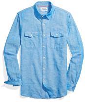 Amazon Brand - Goodthreads Men's Slim-Fit Long-Sleeve Linen and Cotton Blend Shirt