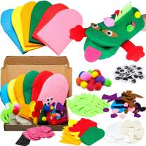 WATINC 6Pcs Hand Puppet Making Kit for Kids Art Craft Felt Sock Puppet Creative DIY Make Your Own Puppets Pompoms Wiggle Googly Eyes Storytelling Role Play Party Supplies for Girls Boys