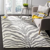 Safavieh Cambridge Collection CAM709A Handcrafted Moroccan Geometric Ivory and Dark Grey Premium Wool Area Rug (3' x 5')