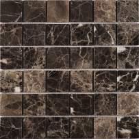 "Simple Tile - 5 Sheets Marble Mosaic Tile for Kitchen Backsplash, Bathroom Shower Floor etc., ""2X2 Square Collection"", 2""X2"" Square, 12""X12""X3/8"", Polished (Set of 5 Sheets, EDMM0202 - Emperador Dark)"