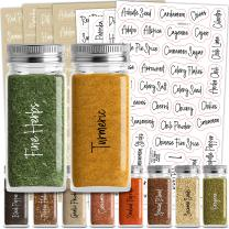 Talented Kitchen 272 Script Spice Labels Preprinted – 272 Black & White Labels: Spices + Numbers + Blanks. 2 Letter Colors on Clear Stickers. Water Resistant, Spice Jar Labels Spice Rack Organization