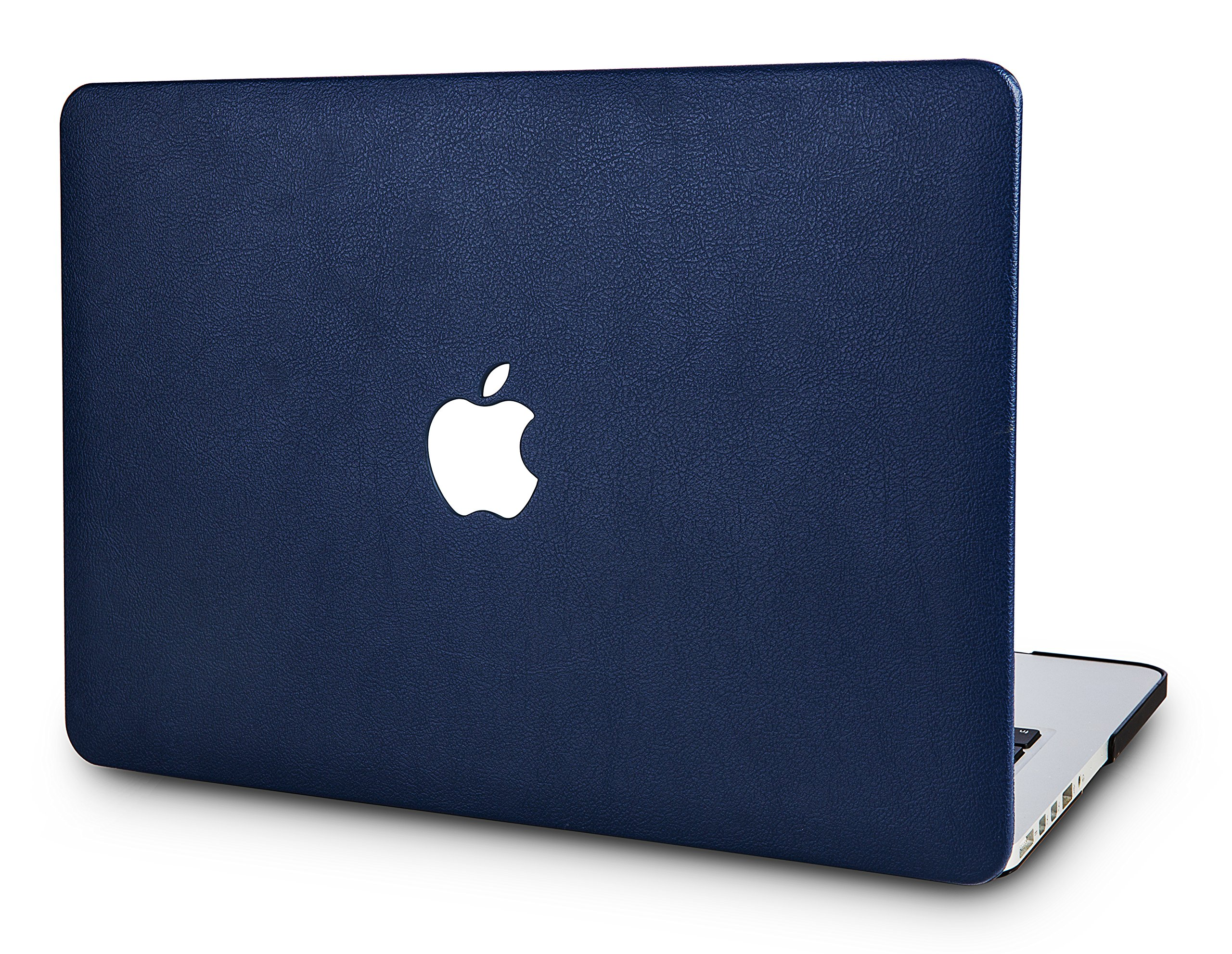 """KECC Laptop Case for MacBook Air 13"""" Retina (2020/2019/2018, Touch ID) Italian Leather Hard Shell Cover A2179/A1932 (Navy Blue Leather)"""